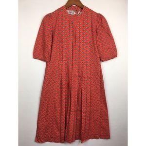 Vintage Pleated Paisley Shift Midi Dress